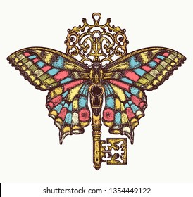 Butterfly and key. Mystical symbol of freedom, spiritual, flight, travel