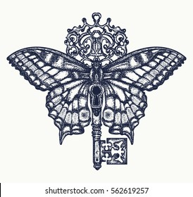 Butterfly and key tattoo art. Mystical symbol of freedom, spiritual search, flight, travel. Beautiful butterfly t-shirt design boho style