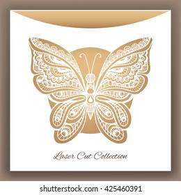 Butterfly. Laser cut envelop. Vector illustration.
