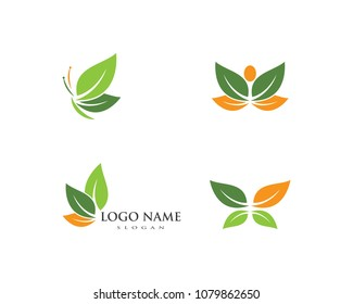 Butterfly leaf Logo Template Vector icon design