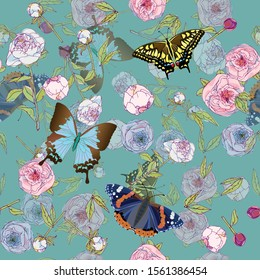 Butterfly and leaves, stems and inflorescences of peonies and roses vector illustration. Picture with pink, blue and white flowers on aquamarine background. Endless pattern. EPS10