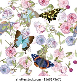 Butterfly and leaves, stems and inflorescences of peonies and roses vector illustration. Picture with pink, blue and white flowers on white background. Endless pattern. EPS10