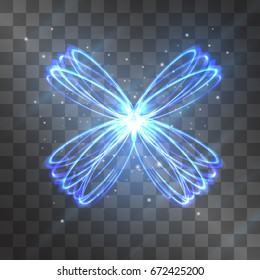 Butterfly light effect. Vector glowing swirling rings with shining stardust sparkles on transparent background. Glittering rotating circles, ice cold magical illumination of fluttering wings.