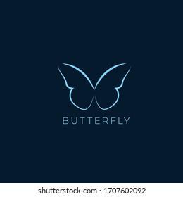 butterfly line feminine logo design  template
