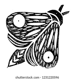Butterfly. Linocut handmade vector illustration. Black color. Isolated on white