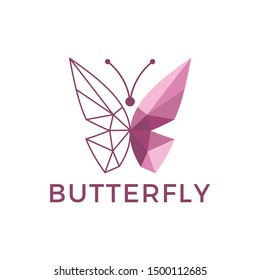 Butterfly Logo Design Inspiration Vector Stock With Geometric Poligon Low poly Style