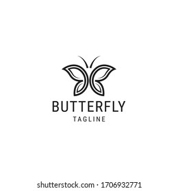 Butterfly logo design template with line art