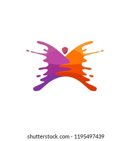 Butterfly logo element with a splash of effect paint