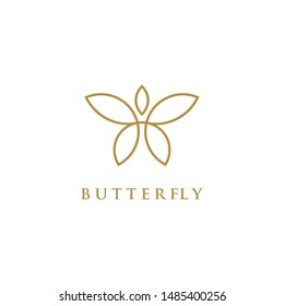 Butterfly Logo geometric design abstract vector template Linear style icon. Brackets Logotype concept icon