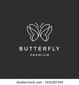 Butterfly Logo geometric design abstract vector template Linear style icon  on black background