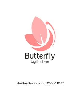 Butterfly logo icon template. Vector illustration.