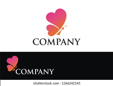 Butterfly logo with love concept
