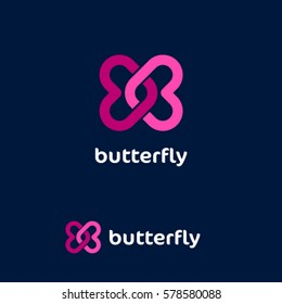 Butterfly logo. Love emblem. Dating website logo. Two pink twisted hearts on a dark background.