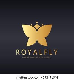 Butterfly logo. Royal butterfly logotype