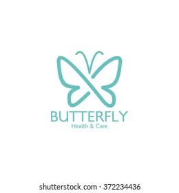 Butterfly logo template. Vector illustration.