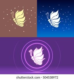 Butterfly logotype wings looks like lotos vector illustration