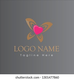 Butterfly Love icon Logo - vector