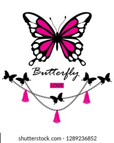 butterfly, love,for t-shirt slogan ,illustration - Vector