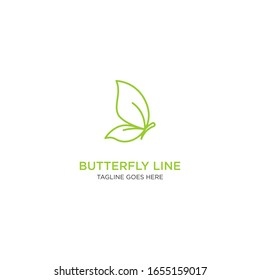 Butterfly with monoline or line art style logo template