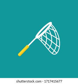 Butterfly net with stars. Catch, hunt, chase symbol. Achieve goals or dreams creative concept.  Vector illustration isolated on blue background.