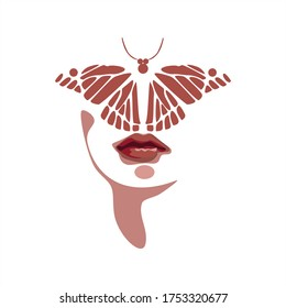 Butterfly on the girl's face. Abstract illustration. Print for t-shirts, for fabrics. Symbol of femininity and beauty. The fusion of man with nature. Vector graphics. Isolated background