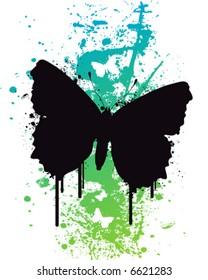 Butterfly on a splatter background