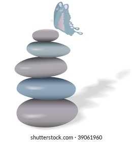 A butterfly on a stack of calm smooth stones for spa and yoga designs.