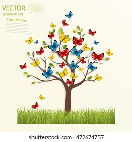 Butterfly on the tree. Vector illustration.