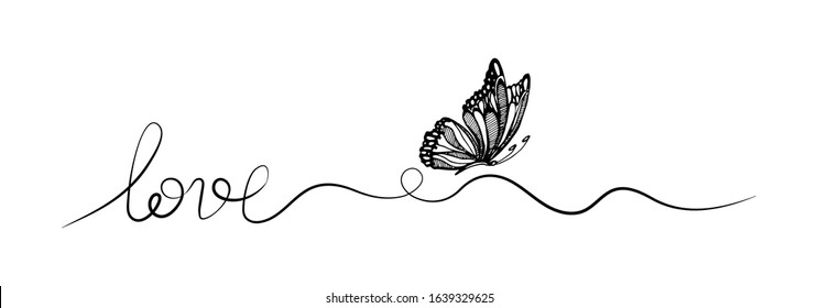 Butterfly one line drawing with phrase Love. vector illustration minimalism. Symbol of love and valentine.