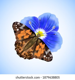 Butterfly Painted lady or Vanessa Cardui sitting on a blue flower isolated on white and blue background.Vector illustration.