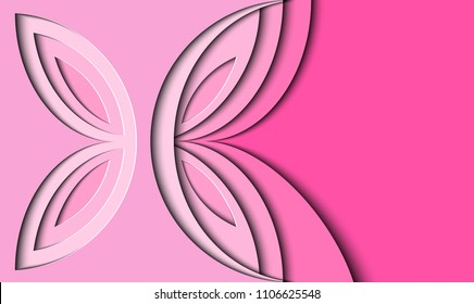 Butterfly of paper.  Pink  background in the style of paper-cut .