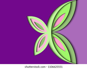 Butterfly of paper.  Purple background in style to  paper-cut.