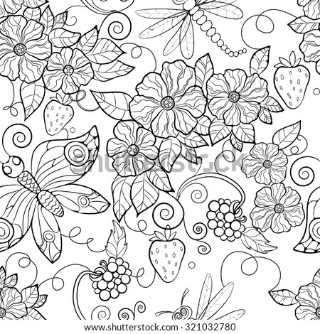 Butterfly Pattern Flowers Coloring Pages Adults Stock Vector ...