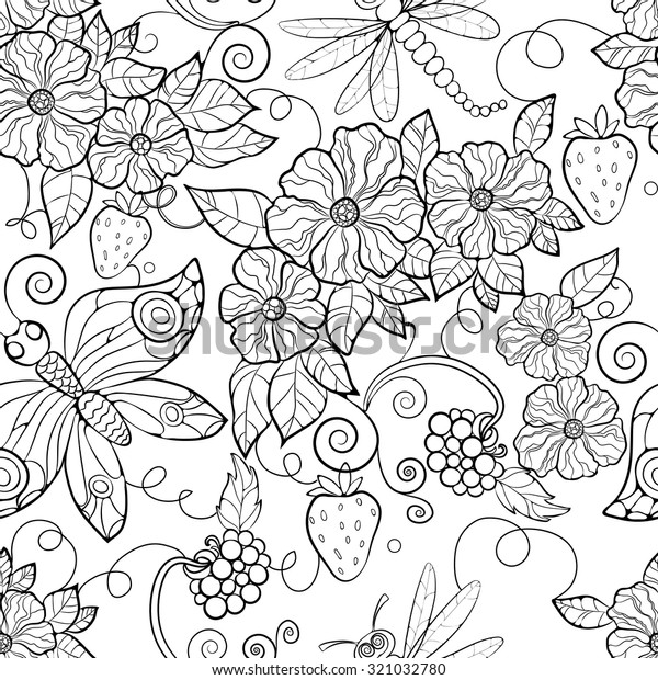 - Butterfly Pattern Flowers Coloring Pages Adults Stock Vector (Royalty Free)  321032780
