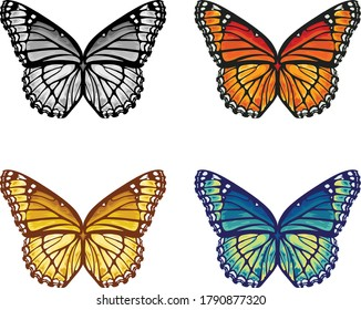 Butterfly pattern in vector artwork in four different colorways.