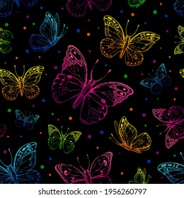 Butterfly pattern. Vector seamless background. Abstract black fabric design. Cute illustration with neon pink, blue, purple butterfly silhouette. Spring or summer drawing. Floral graphic pattern art