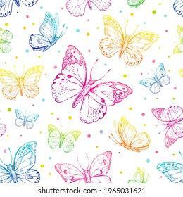 Butterfly pattern. Vector seamless background. Abstract colour fabric design. Cute illustration with neon pink, blue, purple butterfly silhouette. Spring or summer drawing. Floral graphic pattern art