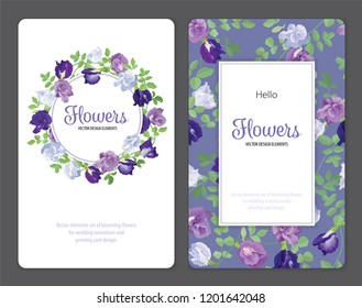 Butterfly pea flowers and leaf on background template. Vector set of blooming floral for wedding invitations and greeting card design.