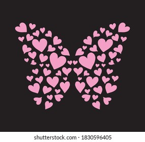 Butterfly with Pink Hearts, Vector Design for Fashion and Poster Prints