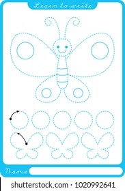 Butterfly. Preschool worksheet for practicing fine motor skills - tracing dashed lines. Tracing Worksheet.  Illustration and vector outline - A4 paper ready to print.