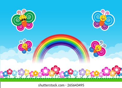 Butterfly Rainbow on Nature background with green grass and flowers and blue sky, vector illustration