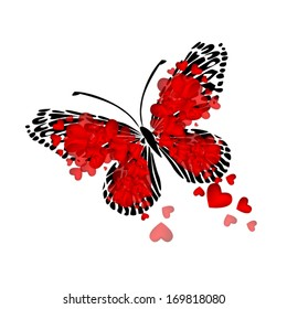 Butterfly of red hearts. Vector