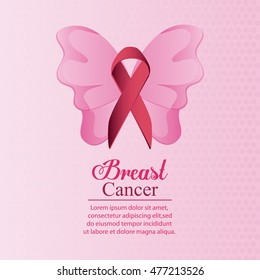 butterfly ribbon breast cancer awareness campaign icon. pink and white design. Vector illustration