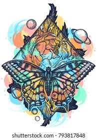 Butterfly, rose, and universe color tattoo, geometrical style. Beautiful Swallowtail boho t-shirt design. Mystical symbol of freedom, nature, tourism