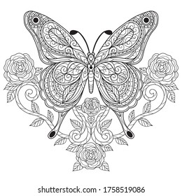 Butterfly with rose. Zentangle stylized cartoon isolated on white background.  Hand drawn sketch illustration for adult coloring book.   - Shutterstock ID 1758519086