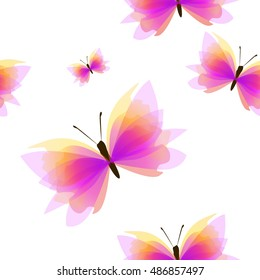 Butterfly seamless background. Vector