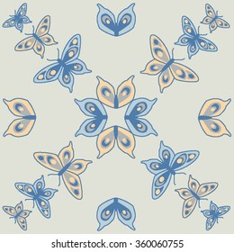 Butterfly seamless pattern in blue, grey and cream