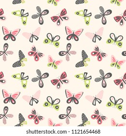 Butterfly seamless pattern. Cute vector background in modern, graphic style.