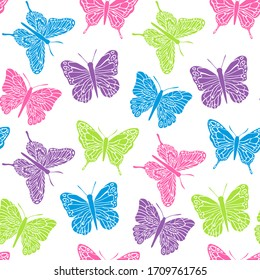 Butterfly seamless pattern. Design for covers, fabric, textile.Vector illustration.