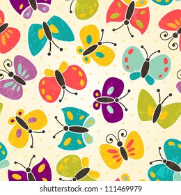 Butterfly seamless pattern. EPS 10 vector illustration.